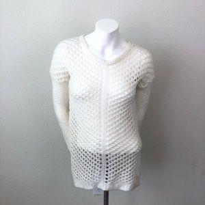 Rue 21 Ivory Open Knit Tunic Sweater